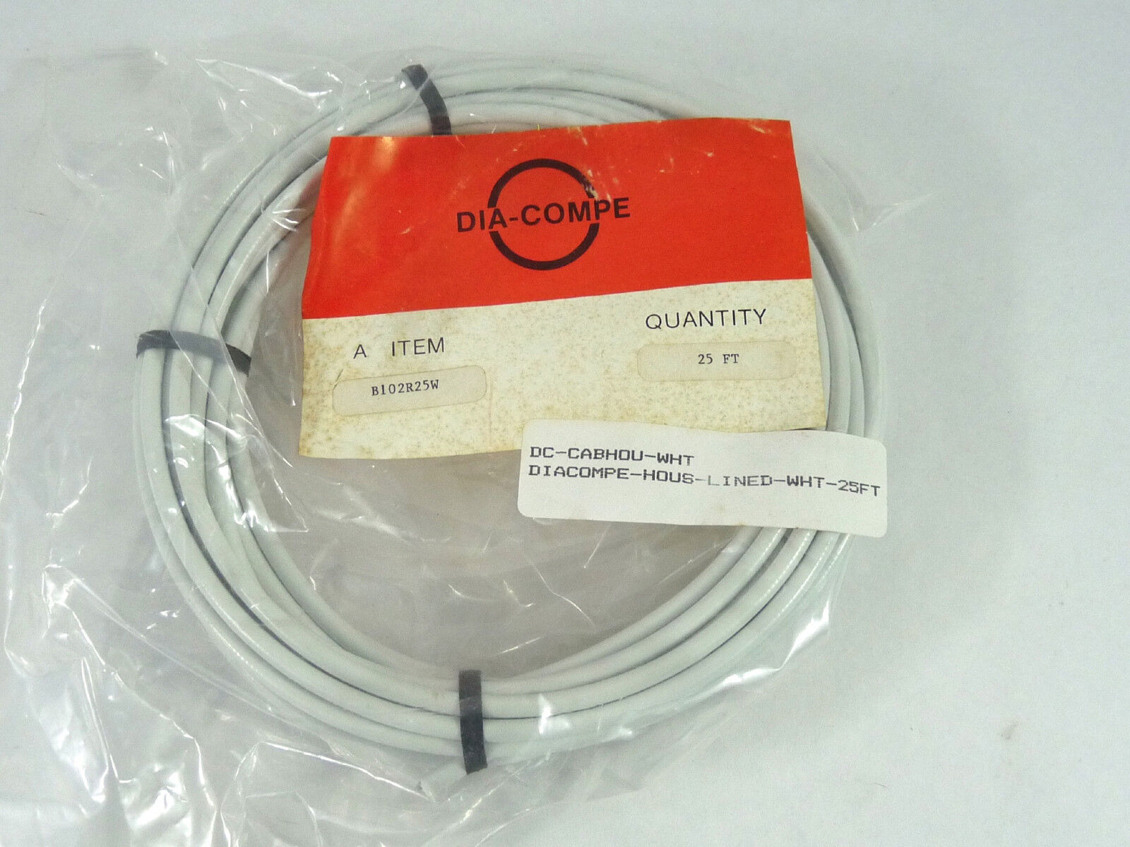 Dia Compe White Brake Cable Housing Roll 25Ft. Nip  Bmx Road & Mountain NOS  free shipping & exchanges.