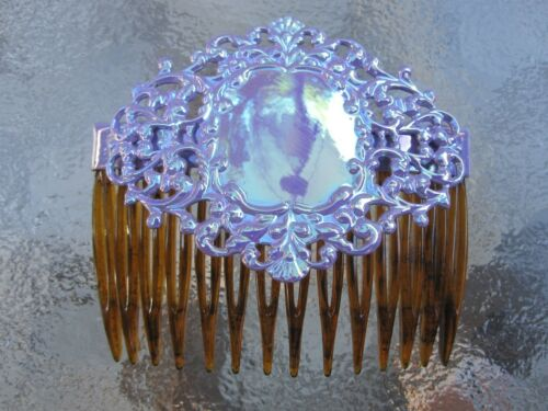 "Vintage Deco Opalescent Lavender Hair Side Comb 2 3//4/"" Comb Made in USA 010"