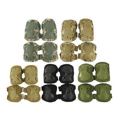 4pcs Adjustable Airsoft Outdoot Tactical Sport Combat Knee & Elbow Protector Pad