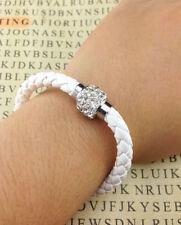 White Color Leather Wristband Magnetic Rhinestone Bracelet