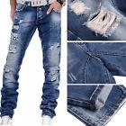 Fashion Mens Jeans Slim Fit Straight Skinny Fit Denim Trousers Casual Pants CA