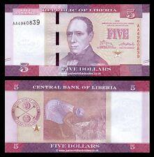 Liberia 5 dólares 2016 primera prefijo 'AA' P-Nuevo Nuevo Diseño UNC