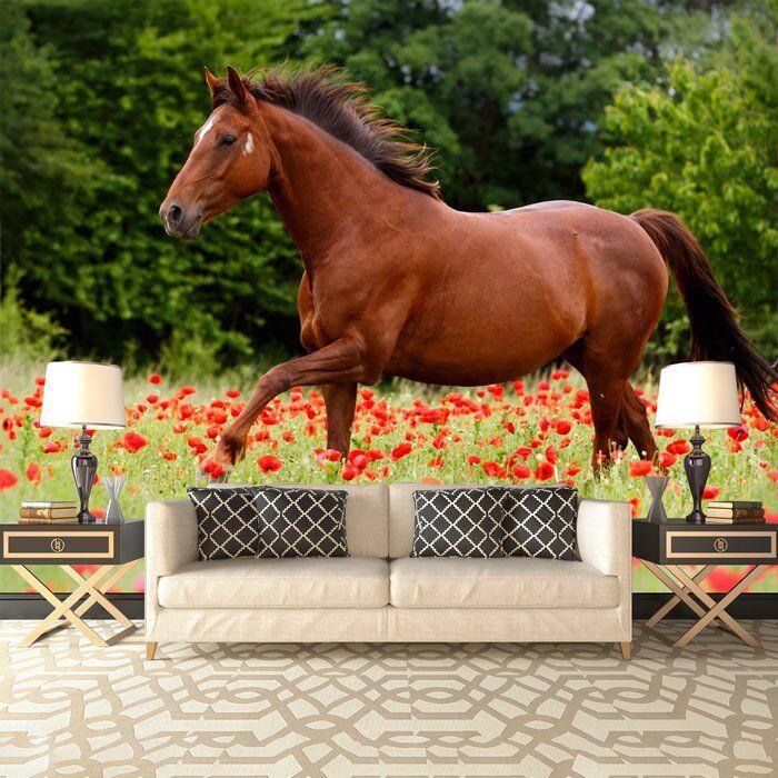 Pferd Fototapete Rote Mohnblumen-Blumen Tapete Kinder Schlafzimmer Haus Dekor