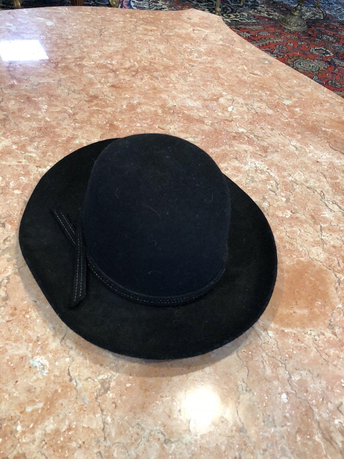 "LADY DIANA BLACK HAT SIZE 54 31/2"" Sombrero de lu… - image 1"