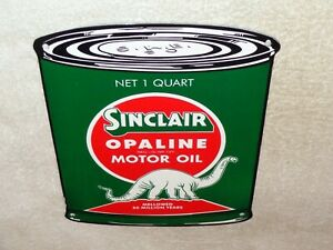 VINTAGE-SINCLAIR-OPALINE-QUART-OIL-CAN-W-DINO-11-034-PORCELAIN-METAL-GASOLINE-SIGN