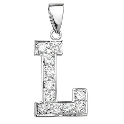 Details about  /Sterling Silver Cubic Zirconia Set 24mm High Initial L Pendant