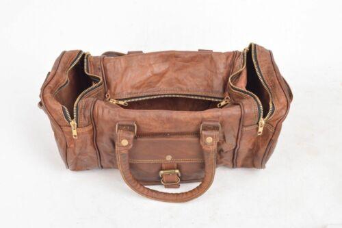 Small Leather Bag Travel Men Retro Gym Luggage Suitcase Overnight Duffle Large