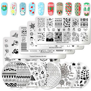 NICOLE-DIARY-Nail-Art-Stamping-Plates-Christmas-Theme-Flower-Image-Tool