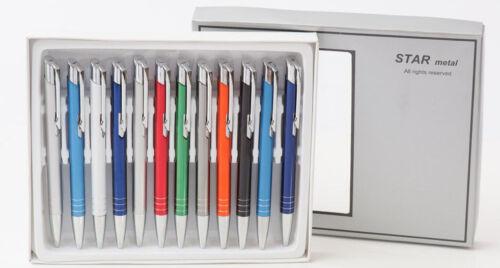12st Metallkugelschreiber Wunschgravur GRATIS Kugelschreiber Neu Viele Farben