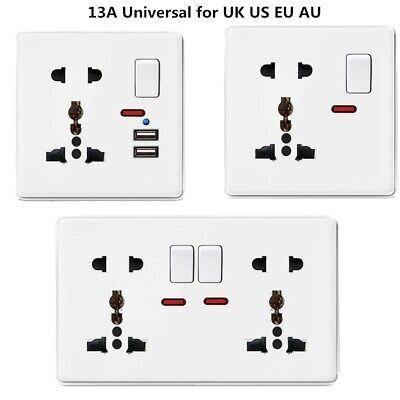 US UK EU Wall Plug Socket 2 Gang 13A with 2 USB Charger Port Outlets Slim Plate