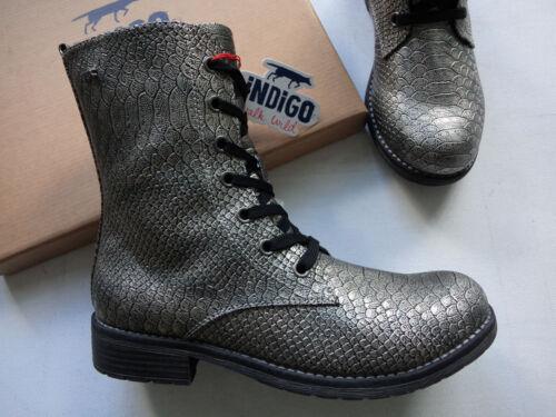 NEU Indigo Schnürstiefel Boots mit Tex Ausstattung silber//metallic Reptil 36-39