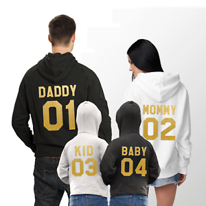 8a09e451 Mommy Daddy Kid Baby Matching Family Hoodies Custom Number Gift Idea ...