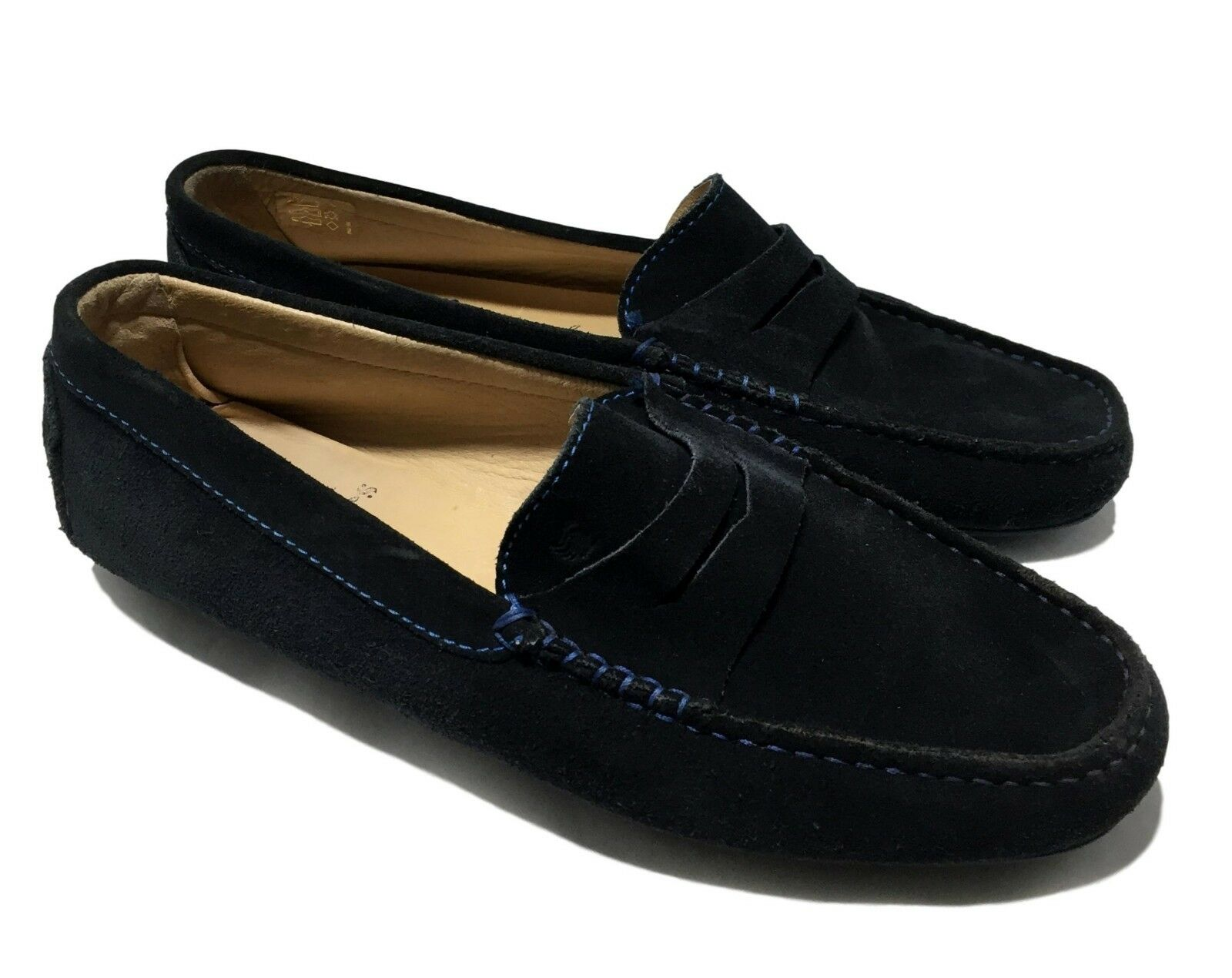 BOBBIES PARIS MEN'S NAVY SUEDE LOAFERS, 42, 165