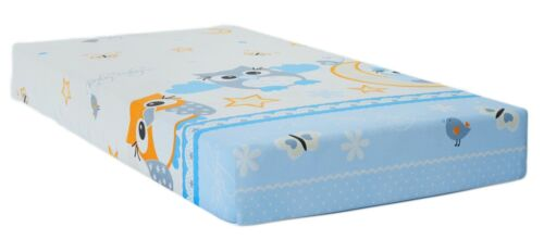 BABY FITTED COT SHEET 100/% COTTON MATTRESS 120x60cm Owls Moon Blue