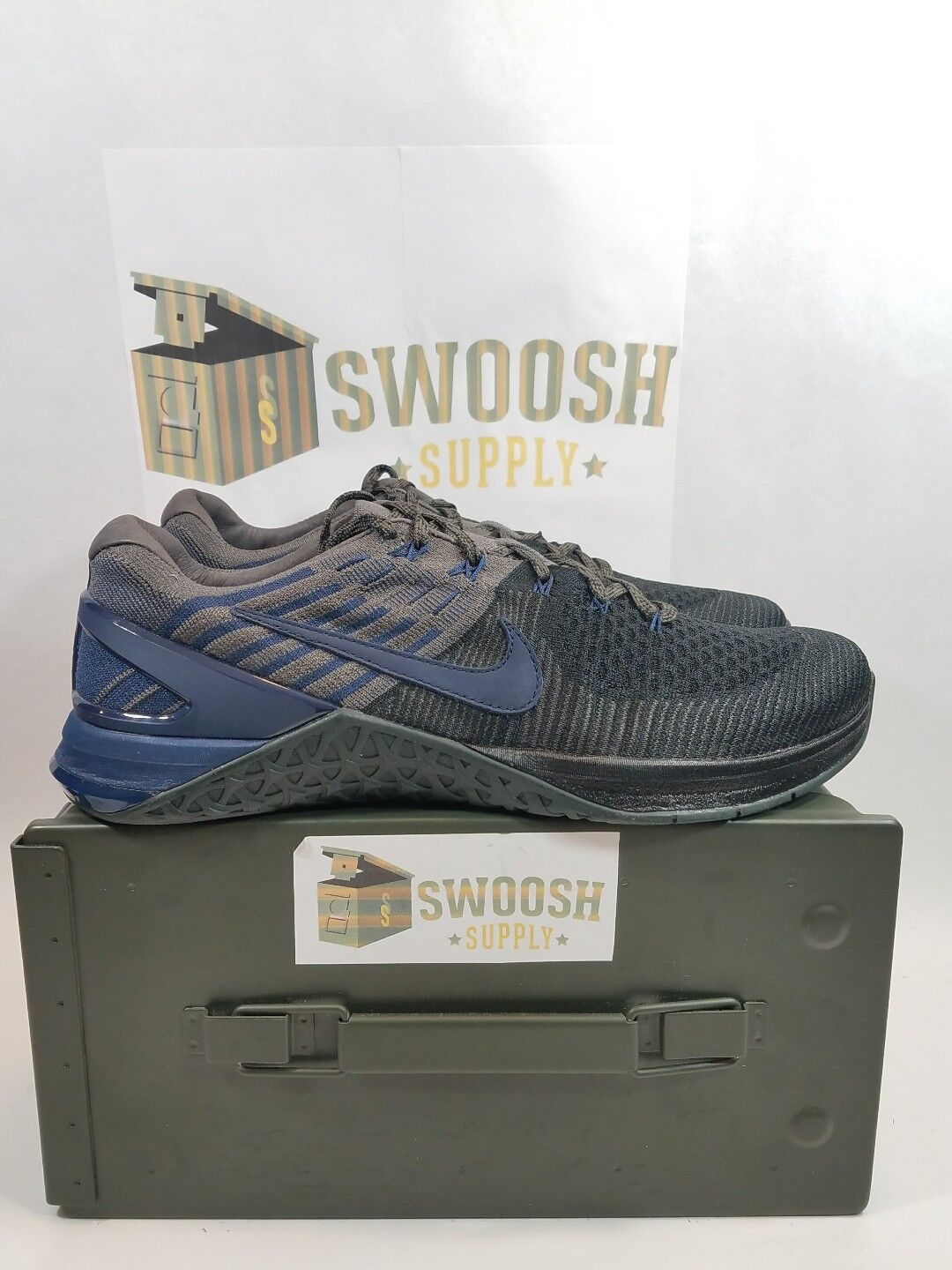 NIKE METCON DSX FLYKNIT LE CROSSFIT TRAINING SHOES BLACK NAVY 916280-004 Size