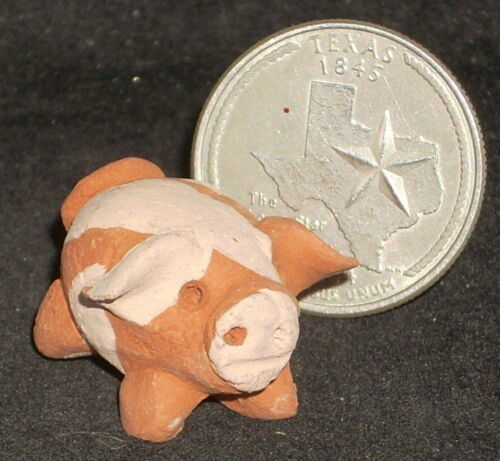 Mexican Import Folk Art Clay Pig 1:12 Mercado Animal Miniature Market FAIR TRADE