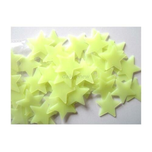 100pcs 3D Stars Glow In The Dark Luminous Fluorescent  Kid Bedroom Wall Stickers