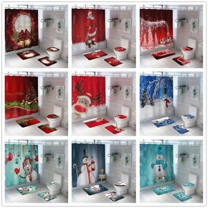 Weihnachten-Schnee-Druckschrift-Wasserfest-Badezimmer-Duschvorhang-Wc-Deckel-Mat