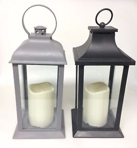 Decorative White Flameless LED Lantern with Pillar Candle Indoor /& Outdoor