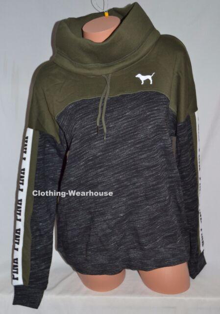 c51263e4b89cd Victoria's Secret PINK VS Marl Black Olive Green Logo Cowl Pullover  Sweatshirt S