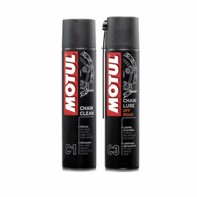 MOTUL KIT PULIZIA CATENA C1 PULITORE CLEAN+C3 GRASSO LUBE SPRAY MOTO CROSS