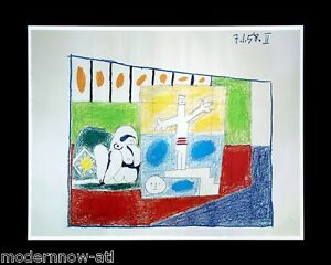 P-PICASSO-Lithograph-Ltd-Ed-69x49-DATED-034-7-1-58-034-II-Custom-ARCHIVAL-FRAME