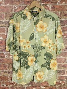 Brandini-L-Hawaii-Shirt-kurzarm-Kragen-Button-Blumen-Tiki-Gruen-Hibiskus
