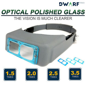 Head-Band-Lighted-Magnifying-Glass-Magnifier-Headset-Led-Low-Vision-4-Lenses