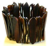 Bracelet Bois Noir Bijoux Artisanat Ethnique Elastique Nacre Coquillage