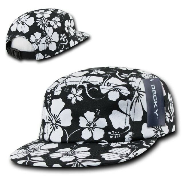 Frequently bought together. Black   White Floral Hawaiian 5 Panel Cotton  Racer Jockey Flat Bill Hat ... 4a6315cb301