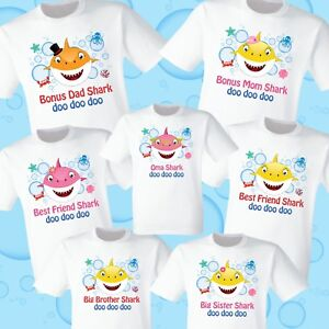 Image Is Loading Baby Shark T Shirts Party Family Birthday Son
