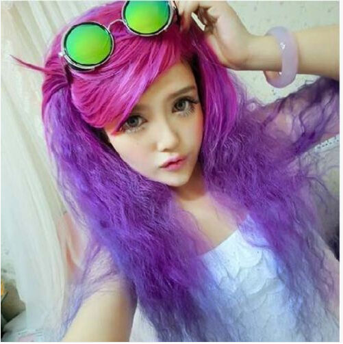 Lolita Purple/Rose Red Wig Long Weave Curly Hair Women Fashion Cosplay Full Wigs