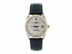 Mens-Rolex-Date-2tone-14k-Gold-Steel-Black-Leather-Watch-White-MOP-Diamond-Dial