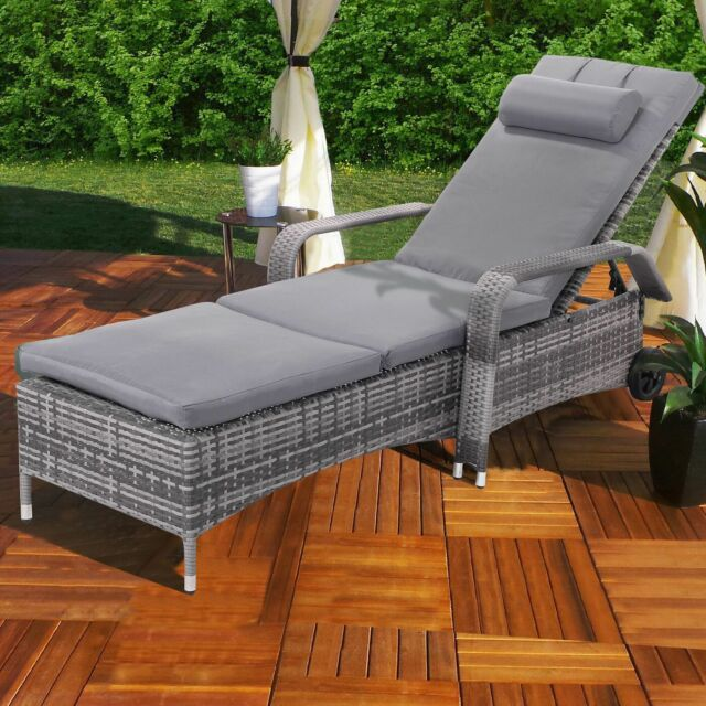 Exceptionnel Outdoor Chaise Lounge Chair Recliner Cushioned Patio Furni Adjustable  W/Wheels