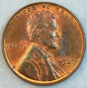 1937-P-Lincoln-Wheat-Cent-UNCIRCULATED-BU-UNC-DARK-RED-GEM-FAST-S-amp-H-34024