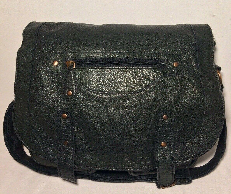 Jones Bootmaker black/green genuine leather satchel style shoulder bag.