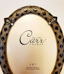 "Carr Frame by Burnes of Boston Oval  5""x7"" Enamel Gold Black diamond shapes"