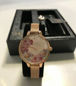 4239d359019 Ted Baker Womens Watch Set TE50719005 Rose Gold Tone Leather Floral ...