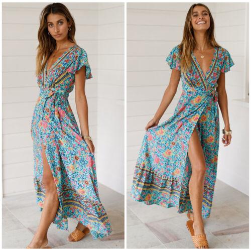 Women/'s V Neck Wrap Floral Paisley Boho Maxi Long Dress Holiday Beach Sundress