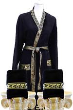 3 tlg. Mäander-Set Kimono Bademantel + Badehandtücher Medusa Gold versac