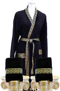 e16ffc8752 Das Bild wird geladen 3-tlg-Maeander-Set-Kimono-Bademantel-Badehandtuecher- Medusa-