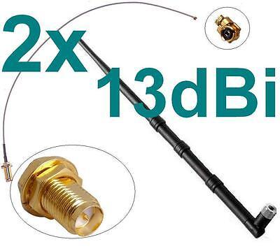 2x 13dbi Cavo Adattatore Antenna Rp-sma Ufl Wlan Wifi Rpsma Fritz! Box Pigtail-