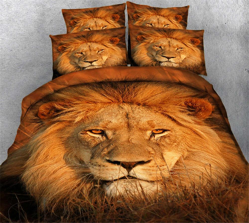 Squinting Lion 3D Druckening Duvet Quilt Will Startseites Pillow Case Bettding Sets