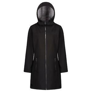 Regatta-Alinta-Womens-Long-Length-Windproof-Softshell-Jacket-Black-10-RRP-70