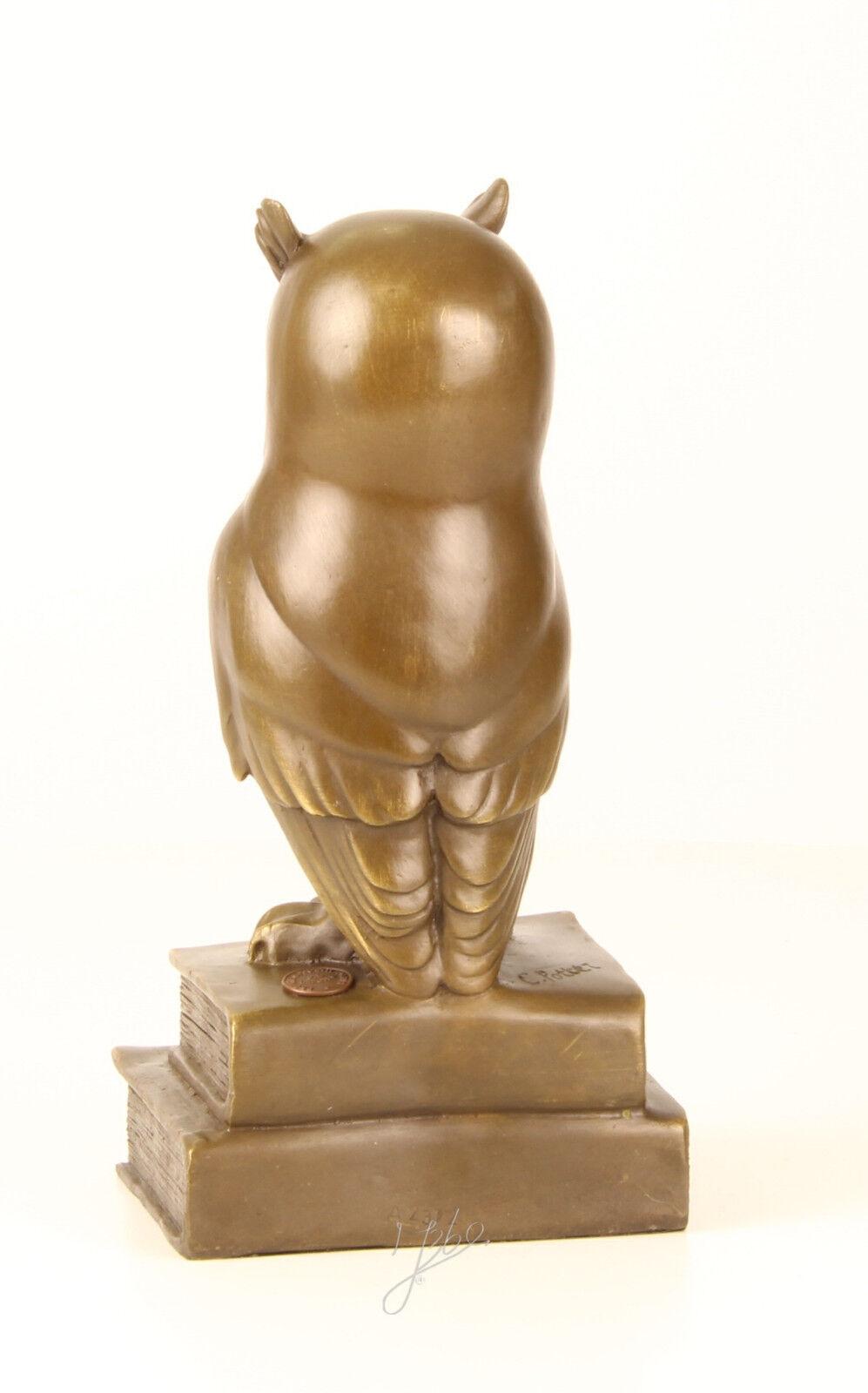 9937417-dss Bronze Sculpture la Figurine Hibou la Sculpture sagesse sur Livre 11x9x22cm afb175