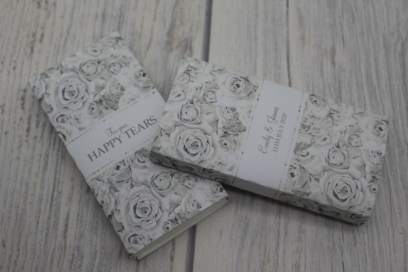 Personalised pocket tissues wedding favour-Silber grau-Happy Tears