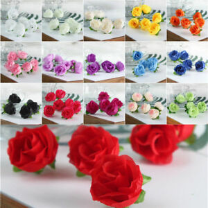 30//50X Artificial Silk Fake Rose Flower Heads Bulk Wedding Party Decor Various