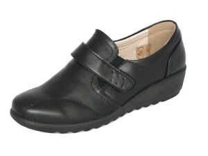 Cushion-Walk-Women-039-s-Black-Leather-Lined-Touch-Fastening-Low-Wedge-Comfort-Shoes