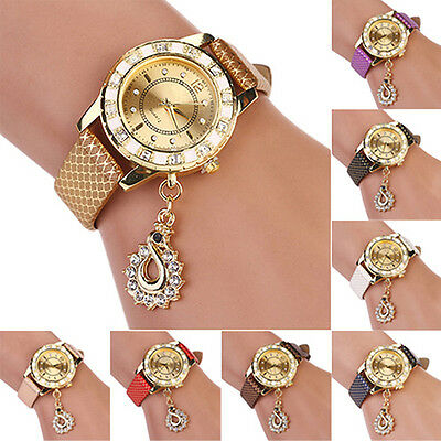 Women Hot Snakeskin Print Gold Plated Mesh Peacock Rhinestone Quartz Wrist Watch