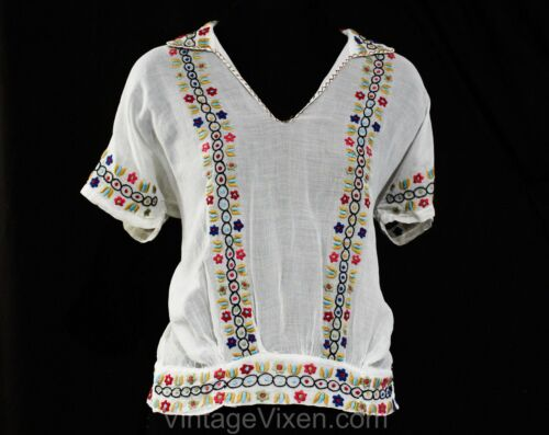 Size 10 Peasant Blouse - 1930s 40s White Sheer Org